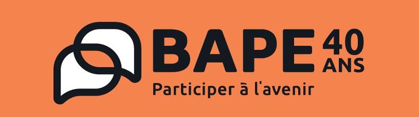 Logo du BAPE sur fond organge