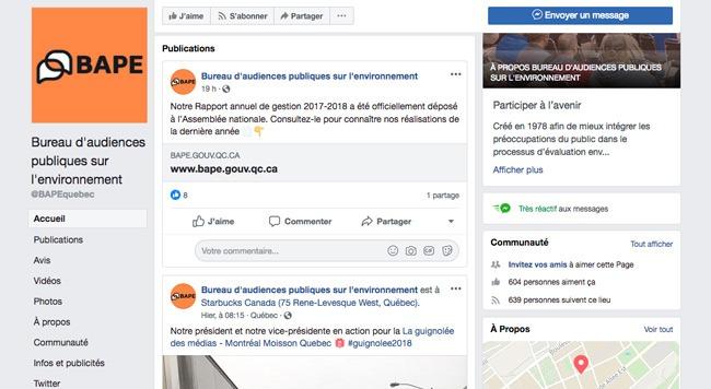 Page Facebook du bape