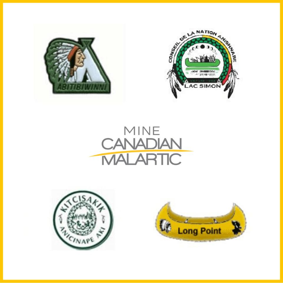 Logos des quatres Premières Nations Anicinapek et de Canadian Malartic